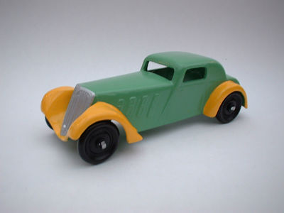 DINKY TOYS COPY MODEL 22B FRENCH COUPE METAL WHEELS IN GREEN AND YELLOW