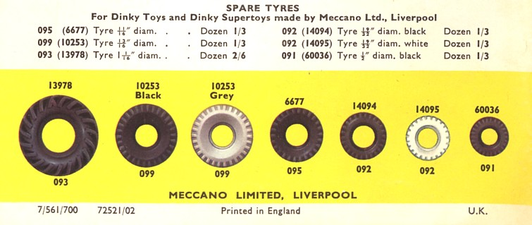 Spare Tire Size Chart >> Dinkyclub - Quality Model Toy Spare Parts, Kits